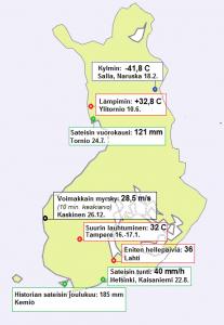 Kuvassa näkyy vuoden 2011 sääennätyksiä. Ne eivät siis ole kaikkien aikojen ennätyksiä joulukuun Kemiön sademäärää lukunottamatta.