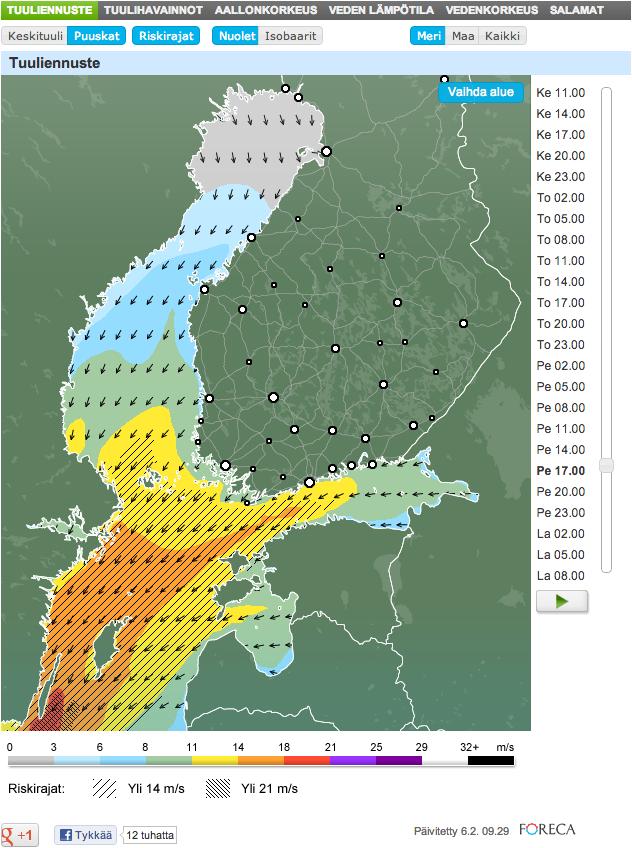Puuskatuuli ennuste riskirajoineen Foreca.fissä.