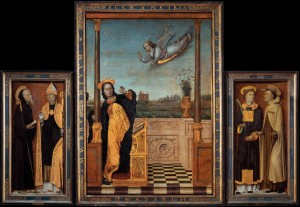 Carlo braccesco, trittico dell´annunciazione. Tekstistä selviää, mikä on kuvan ja kylmän kevään välinen yhteys. Kuva: Wikimedia Commons.