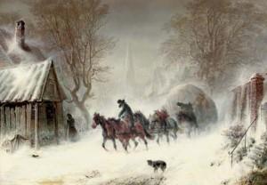 Lumipyryt voivat olla myös innoituksen lähde... Kuva: Hermann Kaufmann: Enduring the snowstorm / commons.wikimedia.org