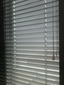 Liian lämpimän, aurinkoisen ja muutenkin houkuttelevan sään voi kätevästi piilottaa toimiston sälekaihtimen taakse.