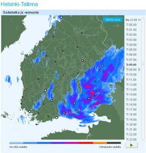 Tiistaiaamuna Itä-Suomessa sataa kaatamalla