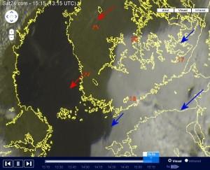 Pilviverho Etelä- ja Itä-Suomen yllä 24.7. Länsi-Suomessa selkeillä alueilla ollut paikoin jo hellettä. (kuva: http://sat24.com)