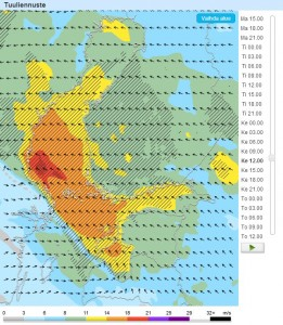 Forecan nettisivuilla on monipuolinen Tuuliennuste-työkalu, josta näät ennustetun keskituulen lisäksi puuskat. Keskiviikolle on luvattu myrskyisiä puuskia Selkämerelle ja paikoin kovia puuskia maalle. Katso itse lisää: http://foreca.fi/Finland/Helsinki/veneilysaa/tuuliennuste/itameri