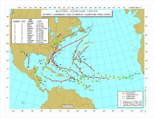 Hurrikaanien reittejä vuodelta 1999. Kuva: