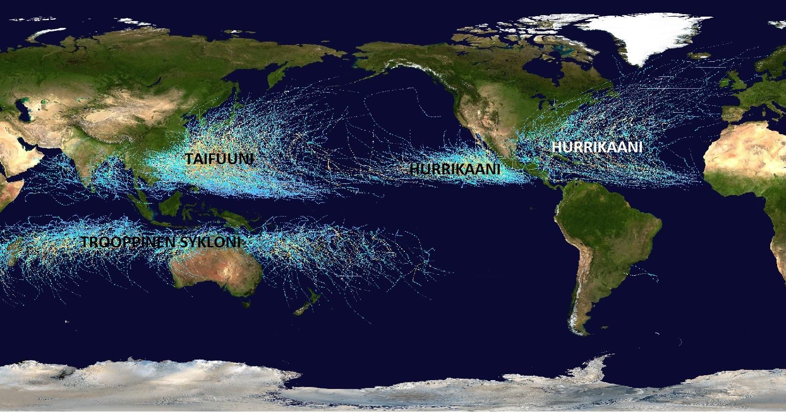 Trooppiset myrskyt vuosilta 1985-2005. Sekä niiden nimitykset merialueiden mukaan.