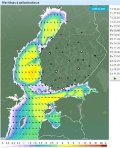 Kuva2: Merkittävät aallonkorkeudet perjantaina aamuyöstä ovat paikoin yli 4 metriä.