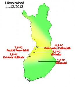 Suomen korkeimmat lämpötilat 11.12.2013