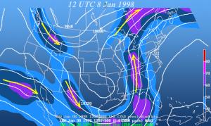 """Sama mörkö näyttää olleen asialla myös tammikuussa 1998. Ilmakehän rakennetta ja """"ice storm"""" seurauksena. Kuva: National Weather Service / Wikimedia Commons."""