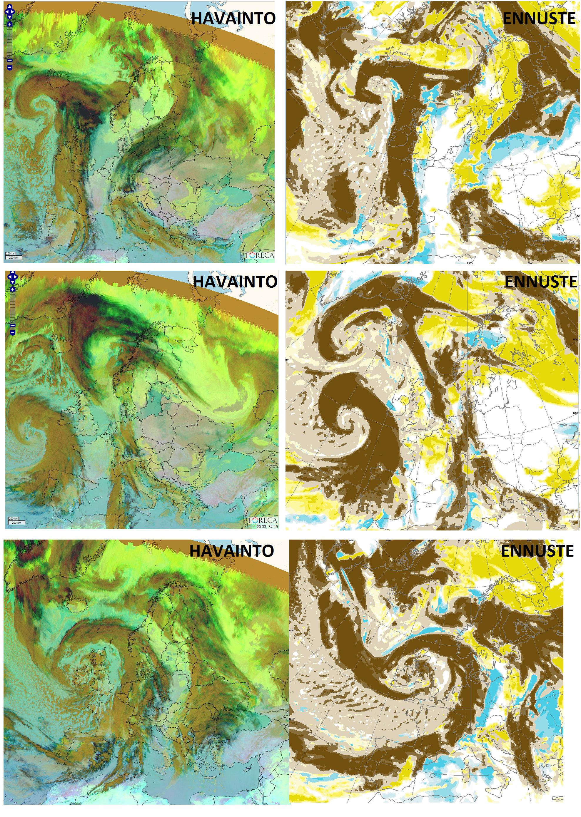 Kuva 2: Ylärivillä näkyy sateliittihavainto verrattuna 1. vuorokauden ennusteeseen. Ruskeat pilvet vastaavat rintamapilviä ja keltaiset alapilviä. Pohjaväri on kartoissa erilainen ja samoin karttarajaus. Kuvasta on nähtävissä ennustetun ja havaitun pilvisyyden vastaavan varsin hyvin toisiaan. Tarkemmin katsomalla näkyy kuitenkin, että Ahvenanmaalle on ennustettu selkeää säätä, vaikka todellisuudessa siellä on ollut aivan pilvistä. Lähes aina löytyykin jokin kolkka, jossa ennuste menee paikallisesti pieleen, vaikka kokonaisuus näyttäisikin lähes täydelliseltä.  Toisella rivillä näkyy seuraavan päivän ennuste  ja ainakin Rovaniemellä sää on ennustettu täysin väärin, pilvinen sää kun on ennustettu täysin selkeäksi. Kun sääennuste menee väärin, se voi yhtä hyvin mennä täysin väärin kuin vaan vähän väärin. Näin käy juuri silloin, kun jokin pilven kiehkura  tai sadekuuro kulkee hieman väärästä kohtaa.  Kolmannella rivillä näkyy sitten kuudennen päivän ennuste. Kartoista on nähtävissä, että matalapaineiden rintamapilvet ovat jo selvästi useita satoja kilometrejä väärässä paikassa. Meteorologisesti tämä viimeinen ennuste on selvästi kahta ylempää ennustetta huonompi. Silti pilvisyysennuste menee tässä paremmin  oikein koko Suomen alueella. Sekä Rovaniemellä että Ahvenanmaalla  6. päivän ennuste on asukkaiden mielestä paljon parempi kuin lähivuorokauden ennuste.