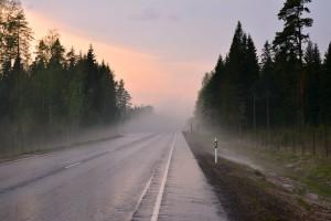 Kuva 10: Ukkos- ja raekuuron jälkeen lämpötila oli laskenut vain 16 asteeseen, ja raesateesta johtuen tielle muodostui sakea sumu.