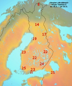 Ennustettu päivän ylimpien lämpötilojen keskiarvo 18.5. - 23.5.