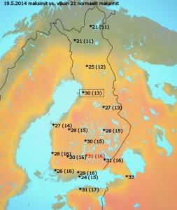 Kuva 1: Tämän päiväiset lämpötilat olivat vuodenaikaan nähden paikoin jopa yli 15 astetta normaalia korkeampia. Kuvassa ensin tämän päivän maksimilämpötilat ja suluissa vuodenajan tyypilliset maksimilukemat. / MTV & Markus Mäntykannas