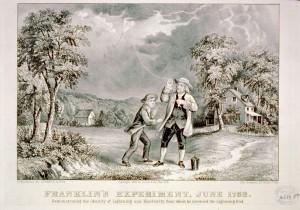 Leijaa ei kannattane lennättää ukonilmalla, vaikka Benjamin Franklin teki niin aikoinaan. Kuva: Currier & Ives, New York, 1876 - Public Domain Images.