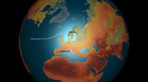 Kuva 1: Suihkuvirtaus rajaa pohjoisen kylmän ja etelän lämpimän ilmamassan toisistaan