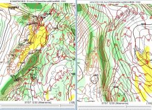 Viikonvaihteessa Suomeen virtaa helleilmamassaa etelästä. Kuvan 850 hPa:n lämpötiloja, joihin voi selkeässä ja heikkotuulisessa säässä lisätä n. 17 astetta heinäkuun alussa. (Kuva: ECMWF/GFS/Foreca)
