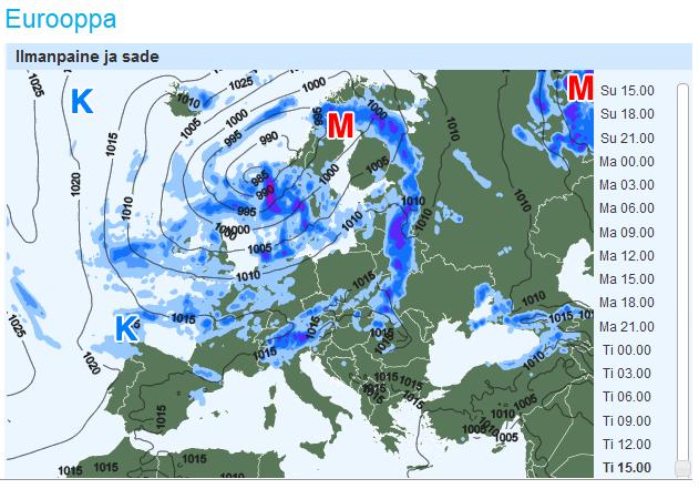 Euroopan mittakaavassa oli jo viikoloppuna näkyvissä, että kuulumme laajempaan matalapaineen alueeseen, jossa sen pääsadealue on iltapäivällä liikkumassa Lappiin ja samalla etelämpänä sää tilapäisesti poutaantuu