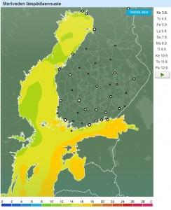 Forecan sivuilta löydät meriveden lämpötilaennusteen.