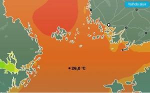 Kuva 12: Heinäkuun lopulla Itämeri oli paikoin lämpimämpi kuin Välimeri.