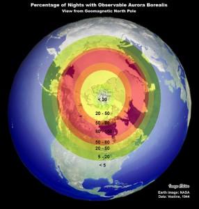 Revontulien esiintymisvyöhyke. Kuva: NASA