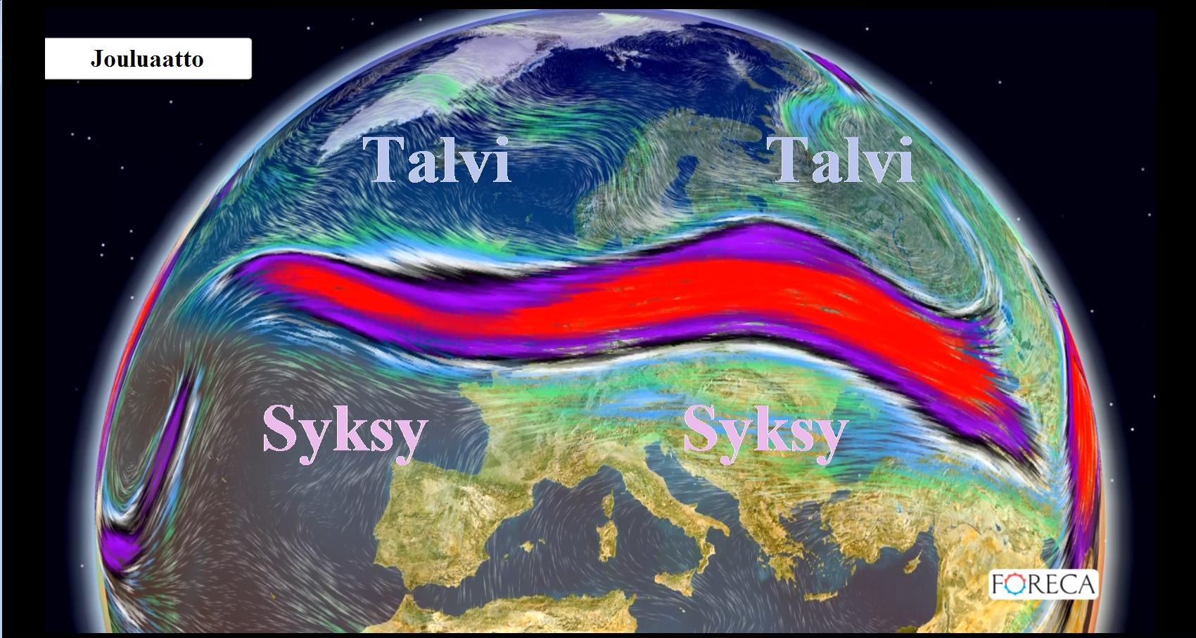 Matalapaineita ohjaileva suihkuvirtaus on siirtynyt  Pohjolan eteläpuolelle ja kuulumme lähipäivät tukevasti talviseen kylmään ilmamassaan.
