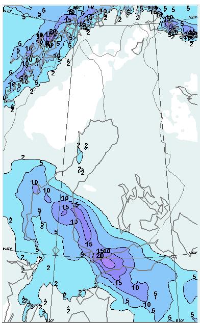 Lunta on odotettavissa läntiseen Suomeen kymmenkunta senttimetriä ja paikallisesi lunta voi kertyä jop yli 20  senttiä. Lisäksi tuuli tuiskuttaa lunta ja paikoin sitä myös kinostaa
