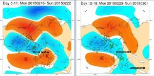 ECMWF:n ennustamat ilmanpainepoikkeamat (500 hPa taso) lähiviikkoina pohjoisella pallonpuoliskolla. Ensimmäinen viikko Fennoskandiassa selvästi tavanomaista lauhempi, toisella viikolla poikkeama heikkenee. / kuva: ECMWF/Markus Mäntykannas