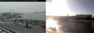 Kuva 1: Kateutta sunnuntaina: Helsinki +5 C ja tihkusadetta, Tukholma +17 C ja aurinkoa. (kuvat: Port of Helsinki / webbkameror.se)