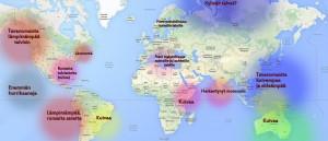 Kuva 2: El Nino -ilmiö vaikuttaa maantieteellisesti laajoille alueille. Siperian ja Euroopan osalta vaikutus on toistaiseksi hieman epävarma; muutamana voimakkaana El Nino -vuotena on kuitenkin havaittu Siperian ja mahdollisesti Pohjois-Euroopan kylmeneminen talviaikana ja Välimeren runsaat sateet. (kuva: Markus Mäntykannas, Google Maps)