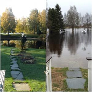 Kuva 1: Pudasjärveläinen kesämökki normaalina päivänä ja kevättulvan aikana. (kuva: Tuomas, Oulu)