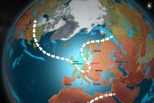 Kuva 3: Ensi viikon puolivälissä polaarinen suihkuvirtaus näyttäisi tekevän Keski-Euroopan kohdalla tiukan mutkan kohti luodetta ja pohjoista. Näin ollen helteet saattavat ainakin käväistä Suomessa (kuva: MTV/Markus Mäntykannas)