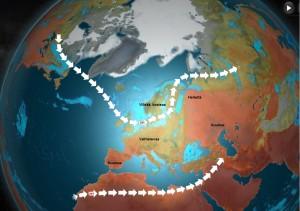 Kuva 2: Polaarinen ja subtrooppinen suihkuvirtaus Euroopassa tällä hetkellä (ja myös viime aikoina). Helteet ovat jääneet Venäjälle, Länsi- ja Pohjois-Euroopassa on ollut viileämpää.