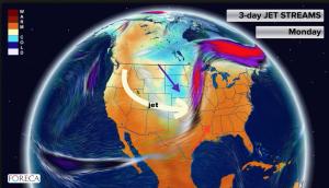 Kuva 3: Maanantaina 11.5. sääasetelma voimakkaille ukkosille, tornadoille ja suurille rakeille oli suotuisa Yhdysvaltojen keskiosassa.