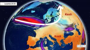 Kuva 3: Keski-Euroopan yli kohti pohjoista suuntautunut suihkuvirtaus on jättänyt Suomen ja Skandinavian kylmään kuoppaan.