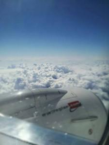 Kuva 1: Kehittyviä Cumulonimbuksia yläilmaperspektiivistä (kuva: Markus Mäntykannas)