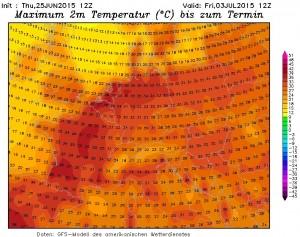 Kuva 2: Yhdysvaltaisen GFS-mallin näkemys ensi viikon torstain maksimilämpötiloista Länsi- ja Keski-Euroopassa. Jää nähtäväksi, yltääkö helleaalto Suomeen (kuva: Wetterzentrale)