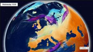 Kuva 1: Brittein saarille muodostuva korkeapaine tiputtaa Suomen kylmään kuoppaan. Suomi on useana päivänä ensi viikolla Euroopan kylmin kolkka - jopa Islannissa on ajoittain lämpimämpää.