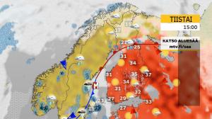 Kuva 3: Tyypillinen säätilanne länsivirtauskesänä: epävakaista, ajoittain sateista, tuulistakin ja tavanomaista viileämpää (kuva: Markus Mäntykannas/MTV)