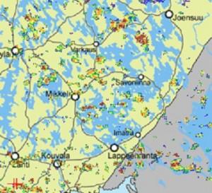 Kuva 1: Tyypillinen sadekuurotilanne (kuva: Foreca)