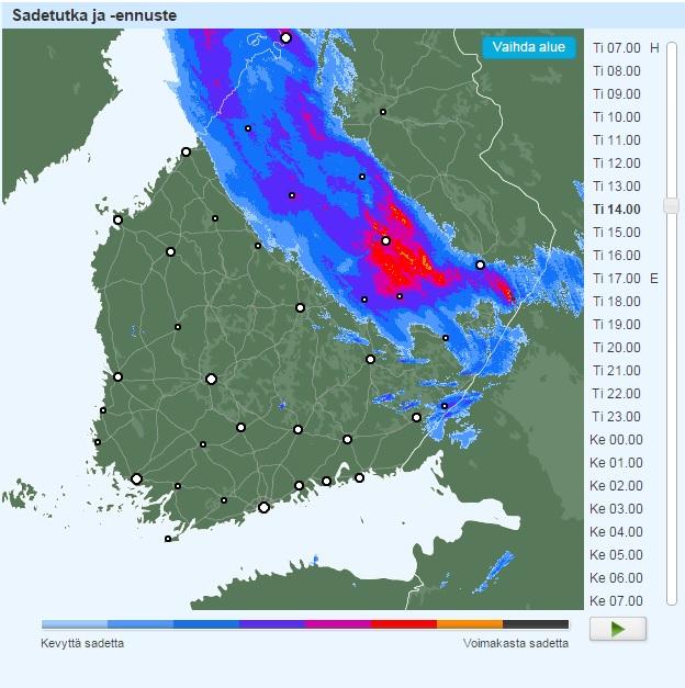 Iltapäivällä 23.6.2015 eniten satoi Kuopiossa.
