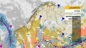 Kuva 1: Lämpötila jäänee pilviverhon alla tihkusateessa idsässä ja pohjoisessa paikoin vain n. +10 asteen vaiheille tai jopa sen alapuolelle. Etelärannikolla ja pääkaupunkiseudulla voi ukkostaakin (kuva: Markus Mäntykannas/MTV)