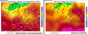Kuva 1: GFS-mallin geopotentiaali-, ilmanpainejakauma- ja ilmamassa-analyysit 29.7.2010 osalta (kuva: Wetterzentrale)