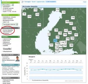 Järviveden lämpötilatiedot sivustolla www.foreca.fi (kuva: Foreca)