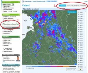Täsmätutka www.foreca.fi -sivustolla (kuva: Foreca)