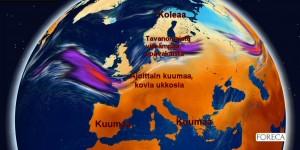 Kuva 3: Euroopan suursäätila lähitulevaisuudessa. Tukalat helleaallot ovat yhä mahdollisia Itämeren eteläpuolella (kuva: Foreca/Markus Mäntykannas).