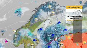 MTV3-kavanan sääkartta. Suomessa vallitsee viileä ilmamassa, Suomen kaakkoispuolella lämmin. (Kuva: MTV3/Markus Mäntykangas)