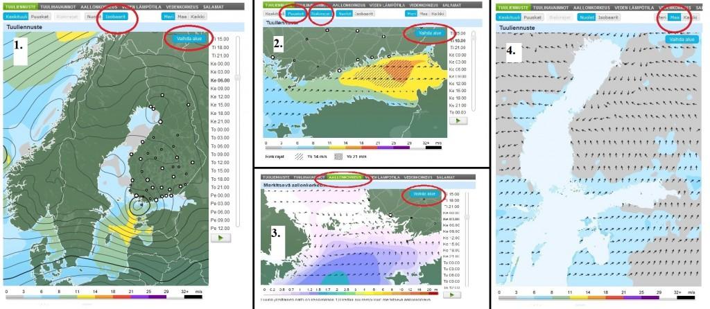 Veneilysääkarttojen antia sivustolla www.foreca.fi (kuva: Foreca)