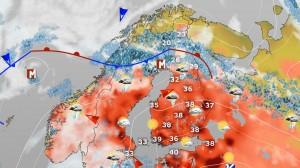 Kuva 5: Kuviteltu sääkartta. Koetaankohan tällainen tilanne vielä kuluvalla vuosisadalla? (kuva: MTV/Markus Mäntykannas)