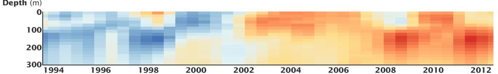 Kuvassa näkyy valtamerten lämpenemistrendi 300 metrin syvyydelle asti pystyleikkauksena vuodesta 1993-2012. 1990-luvulla meret kylmenivät, mutta vuoden 2002 jälkeen ne ovat lämmenneet pintakerrosta lukuunottamatta.
