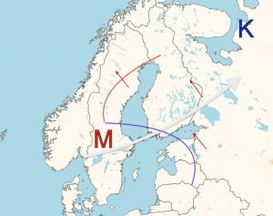Kuva 2: Suurien rakeiden riskin on todettu olevan suurimmillaan, kun Suomen länsi- tai lounaispuolella on matalapaineen alue ja maahamme virtaa kaakosta tai idästä lämmintä ja kosteaa ilmaa. Yläilmakehässä taas tuuli puhaltaa voimakkaasti eri suunnasta, jolloin esiintyy myös tuuliväännettä. Helteisen sektorin päälle kiilaava kylmä rintama luo otolliset olosuhteet ukkosille ja rakeille.